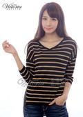 Victoria 條紋拼接雪紡七分袖線衫上衣-女-黑-V65045