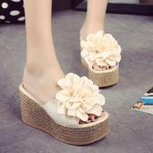 拖鞋女時尚厚底楔形韓版厚底超高跟鬆糕防水台 祕密盒子
