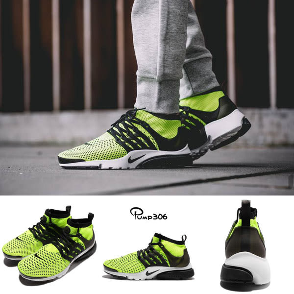 Nike 魚骨鞋 Air Presto Flyknit Ultra OG 螢光綠 黑 流行 男鞋【PUMP306】 835570-701