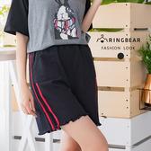 休閒褲--韓版BF雙槓寬鬆百搭高腰顯瘦雙口袋牛仔鬆緊休閒褲(黑M-5L)-R214眼圈熊中大尺碼