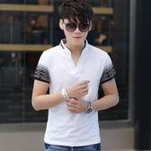 POLO衫 男士短袖T恤修身純棉半袖V領polo衫印花青少年男裝 巴黎春天