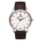ELIDA 簡約學院風格系列腕錶-白底咖啡