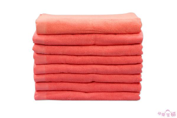 素色加大浴巾 / 薔薇色 / 450g 90x150cm 純棉 / 美容民宿用 / 台灣專業製造【快樂主婦】