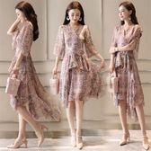 雪紡連身裙女印花2018夏裝新款韓版中袖束腰顯瘦大擺不規則連身裙 東京衣櫃