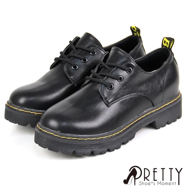 BA-23181 女款厚底馬丁靴 經典款三孔綁帶低筒厚底馬丁靴/休閒鞋【PRETTY】