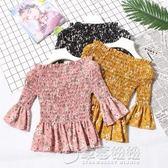 雪紡衫女 2018夏季新品露肩一字領印花喇叭袖裙擺遮肚顯瘦上衣   草莓妞妞