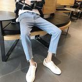 韓版男士牛仔褲春夏青少年修身小腳休閒學生長褲潮流 【快速出貨八折免運】