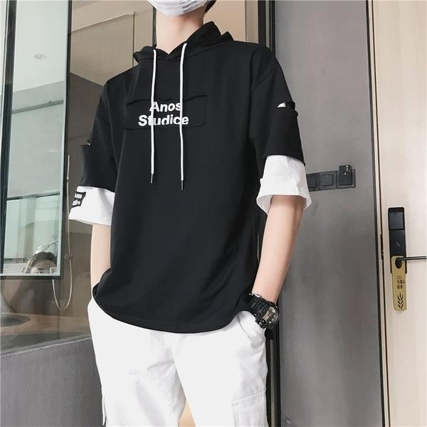 FINDSENSE H1 2018 夏款 寬松 連帽 半袖 男士 潮流 印花 短