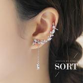 「預購」耳環 單支款 韓國時尚清新小葉片水晶排鑽造型單支耳環【1DDE0161】
