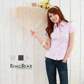 襯衫--柔美俐落感收腰款後扣帶細直條紋襯衫(白.黑.粉S-L)-H29眼圈熊中大尺碼
