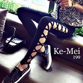 克妹Ke-Mei【AT70752】歐美辛辣龐克風側交叉繃帶彈力內搭褲
