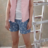 【JEEP】女裝 造型印花短褲-天藍色
