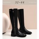 大尺碼女鞋小尺碼女鞋圓頭側拉鍊高筒靴騎士靴長靴女靴(32-44)現貨#七日旅行