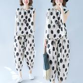 仙女中大尺碼 女裝 遮肉顯瘦女套裝遮肚子洋裝 減齡休閒微 mm夏季時尚