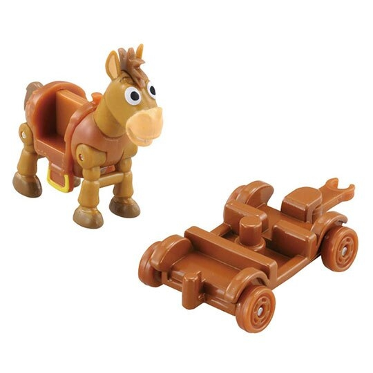 〔小禮堂〕玩具總動員 紅心 TOMICA木製推車公仔模型《棕.TS-06》多美小汽車.玩具 4904810-13412