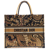 Dior 迪奧 金色刺繡帆布手提包 Dior Animals Monkey Canvas Book Tote Bag 【二手名牌BRAND OFF】