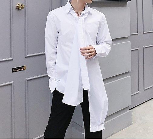 FINDSENSE H1 2018 夏季 新款 個性領結不對稱 白色 長袖 襯衫