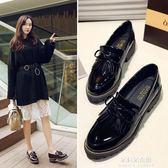 平底單鞋女新款秋春季復古英倫小皮鞋女學生韓版百搭樂福鞋子  朵拉朵衣櫥