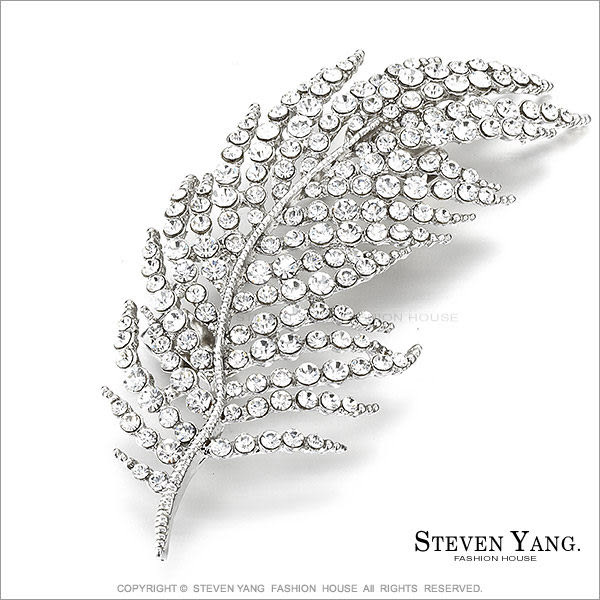 STEVEN YANG 正白K飾「幸福羽毛」別針胸針 鋯石 母親節禮物