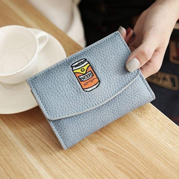 短夾-可愛搞怪刺繡信封搭扣皮夾/零錢包/手拿包-共5色-N450023-FuFu