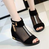 短靴 涼靴真皮涼鞋魚嘴鞋網紗蕾絲女網靴女內增高坡跟【韓國時尚週】