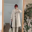 復古簡約毛呢外套女2019秋冬新款韓版赫本風時尚修身中長款呢大衣