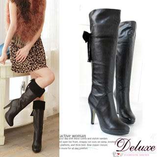 Deluxe-羊皮搭麂皮蝴蝶結燙鑽翻折2way及膝高跟長靴-黑