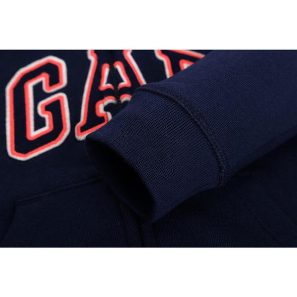Gap 嬰兒男嬰 活力波點印花徽標LOGO熊耳休閒上衣 496545-海軍藍色
