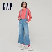 Gap女裝 棉麻混紡可脫卸吊帶寬褲 834803-靛藍色