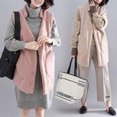花兔子服飾搖粒絨長版口袋背心外套