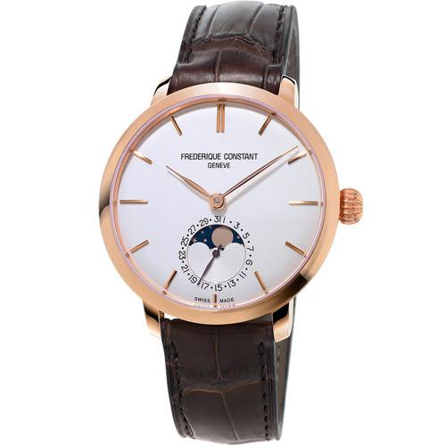 康斯登 CONSTANT 自製機芯超薄月相腕錶       FC-703V3S4