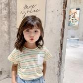 韓國女童短袖T恤2020夏裝新款兒童中小童洋氣韓版寶寶純棉條紋上衣潮【居享優品】