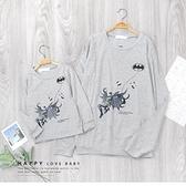 麻花灰 中大童 美式毛絨貼布蝙蝠俠大學T 卡通 親子裝 男童裝 男童長袖 童裝 男童 秋冬長袖