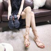 涼鞋 交叉綁帶涼鞋女夏新款平底百搭仙女蛇形纏繞黑色繫帶羅馬女鞋  艾美時尚衣櫥