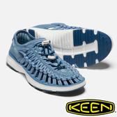 【KEEN 美國】UNEEK O2女拉繩涼鞋『灰藍/白』1019283 健行.涼鞋.自行車.溯溪.健走.海邊.男版