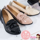 艾妮塔公主。中大尺碼女鞋。英倫學院風蝴結流蘇粗跟鞋 小皮鞋 共3色。(D635) 37~45碼