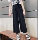 直筒褲闊腿褲M-2XL韓國韓系新款休閒高腰顯瘦寬鬆垂感直筒九分雪紡褲R028.1431號公館