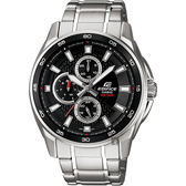 【CASIO 卡西歐】EDIFICE 賽車日曆手錶-黑x銀 EF-334D-1AVUDF