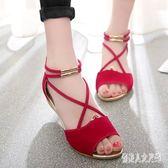 魚嘴涼鞋女 新款韓版平底羅馬鞋學生少女甜美中跟小坡跟百搭絨面 XN387『俏美人大尺碼』