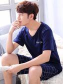 睡衣男夏季短袖短褲純棉春秋季青年學生男士家居服套裝薄款夏天  時尚潮流