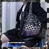 牛仔包 原創設計腰果花撞色拼接牛仔單肩大容量購物袋學生書包【快速出貨八折優惠】