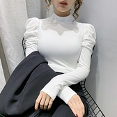 半高領打底衫女內搭秋裝2021年新款洋氣泡泡袖上衣純棉長袖t恤潮寶貝計畫