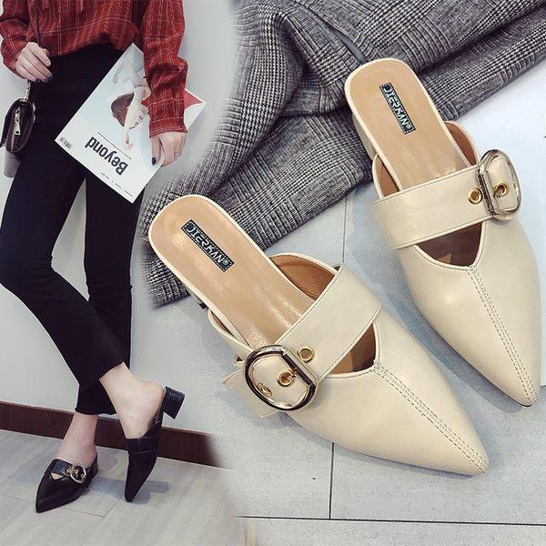 包頭半拖鞋女夏時尚外穿涼懶人厚底尖頭中粗跟高跟穆勒鞋 艾莎嚴選