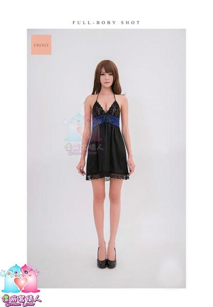 【愛愛雲端】性感睡衣 綁脖式深V 黑藍 蕾絲 睡衣 NA16020060