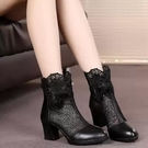 短靴 高跟 裸靴 新款春秋單靴真皮蕾絲網紗短靴時尚鏤空女靴中跟網靴粗跟女鞋
