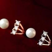 戒指 925純銀 鑲鑽-百搭珍珠生日情人節禮物女開口戒2色73dv15[時尚巴黎]