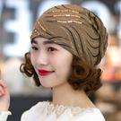 頭巾帽 女春夏韓版百搭薄款頭巾帽包頭帽女透氣堆堆帽空調帽月子帽