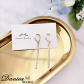 現貨 韓國氣質甜美百搭金屬感幾何流線水鑽925銀針耳環 S93535 批發價 Danica 韓系飾品 韓國連線