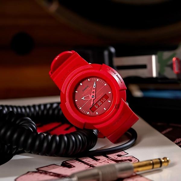 CASIO 卡西歐 G-SHOCK 復刻ONE TONE雙顯計時手錶 AW-500BB-4E