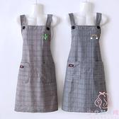 純棉圍裙女透氣超薄廚房無袖圍腰做飯背帶【少女顏究院】